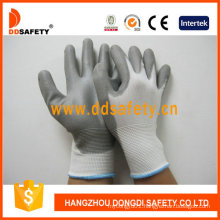 Nylon Polyester Liner PU Glove Coated on Palm and Fingers Dpu108