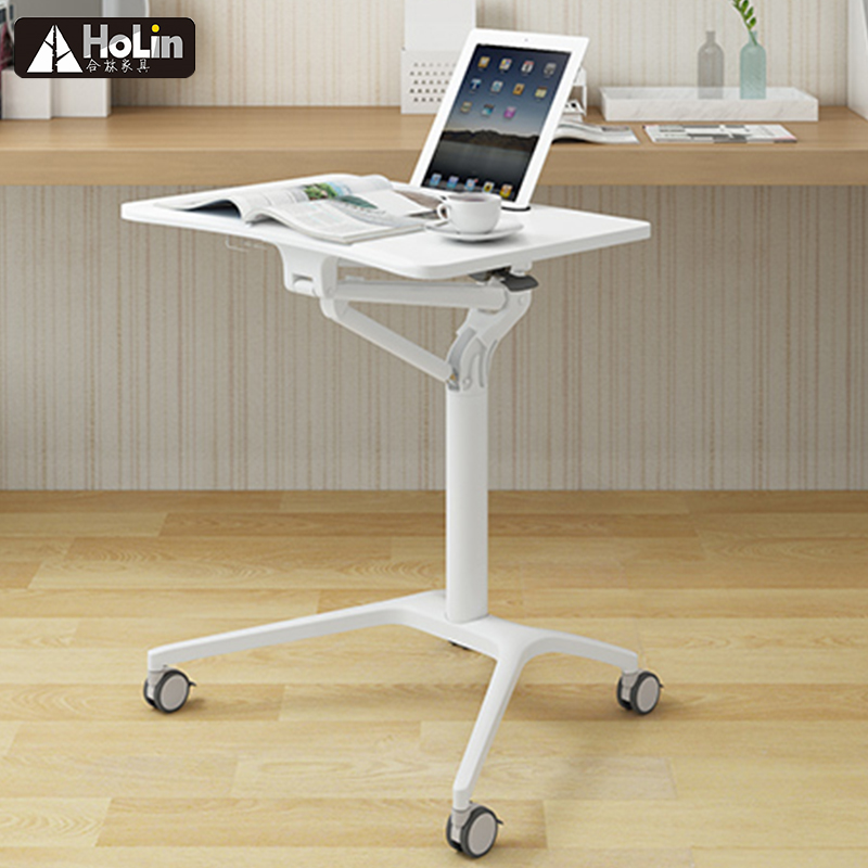 sharp white portable gas lift lecture side table