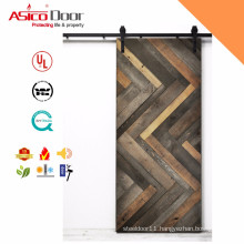 """38""""x84"""" American Style Solid Wooden British Brace Knotty Pine Unfinished Barn Door Slab With Sliding Door Hardware"""