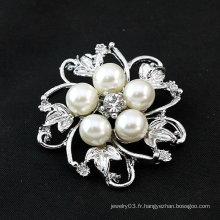 Hot Sale Broche fleur Broche perle de perles avec alliage de zinc BH01