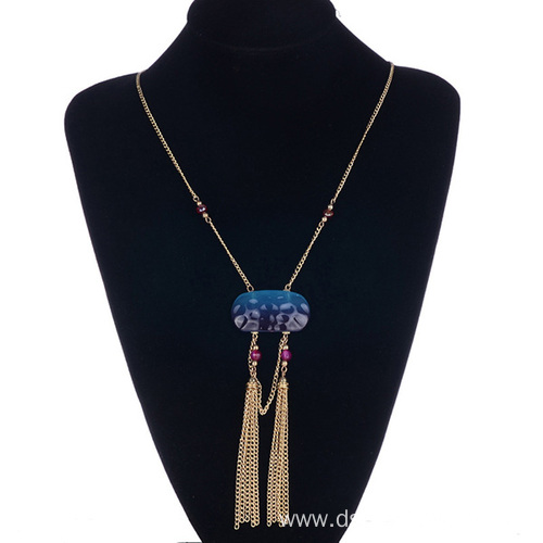 Long Fringe Necklace Natural Stone Tassel Statement Necklace