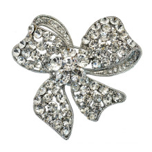 Mode Argent Plaqué Strass Bow Design Lady Broche