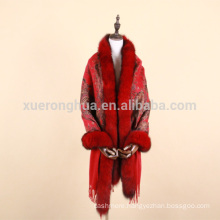 digital printed cashmere shawl with fox fur trimmed