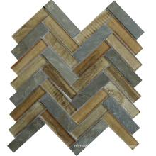 France Style Heat Insulation Chevron Glass Mix Stone Mosaic Tile
