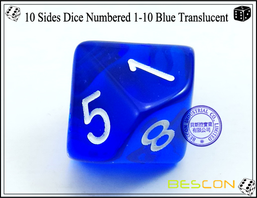 10 Sides Dice Numbered 1-10 Blue Translucent-4