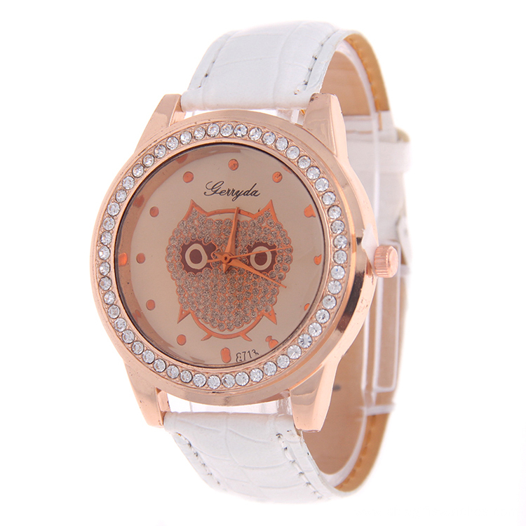 Owl Vein Leather Strap Rhinestone Quartz Watch