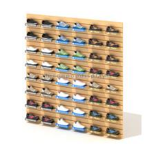 Fabrik Preis Schuhe Einzelhandel Store Custom Holz Wand montiert Schuh kommerzielle Latten Wand Display