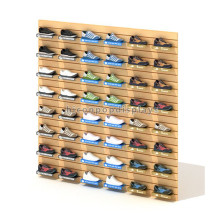 Factory Price Footwear Retail Store Custom Wood Wall Mounted Shoe Commercial Slat Wall Display