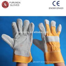 10,5 polegadas algodão amarelo volta com luvas de trabalho de couro de couro de segurança de cuff de segurança