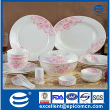 gift box packing pink rosy new bone china tableware dinner set wholesale