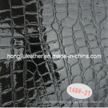 Couro de grão de crocodilo preto brilhante para decorativo