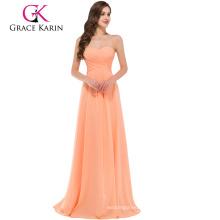 Grace Karin Strapless Sweetheart Light Orange Floor Length Simply Bridesmaid Dress CL3409