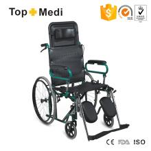 Leichter, manuell verstellbarer Stahlrollstuhl mit hoher Rückenlehne und Nackenkissen