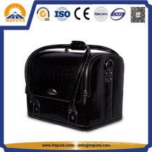 Bolso cosmético de vanidad de cuero negro con correas (HB-6619)