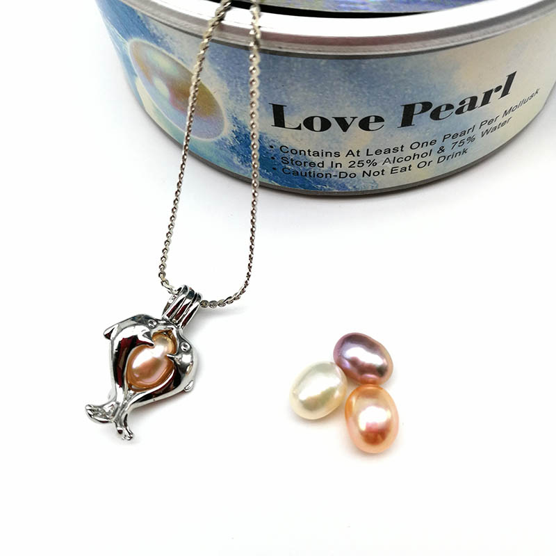 Dolphin Cage Pendant With Pearl Beads Necklace