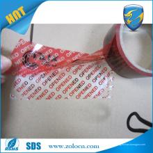 Garantía nulo etiqueta del tornillo cinta de cierre de la cinta con cinta de embalaje personalizada de impresión