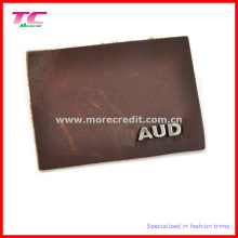 Vogue Custom Leather Label with Metal Logo for Garment