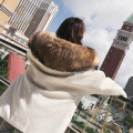 Exquise parka de fourrure de fabrication de luxe avec capuche de fourrure véritable en gros