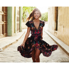 New Style Fashion Women Sexy Little Flower Dress Colorful Long skirt