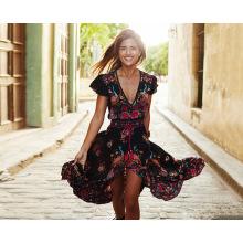 Новый стиль Женская мода сексуальное маленькое платье цветок красочные длинные юбки