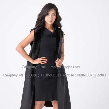 Lady Black Fashion Modna Mink Vest