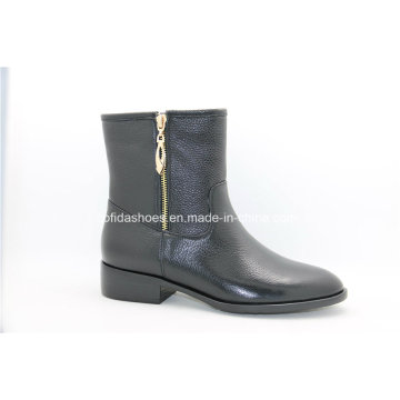 European Fashion Flat Lady Leather Boots for Sexy Women