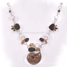 Amonite Natural E Multi Gemstone 925 Sterling Silver Necklace