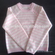 Luxus 12gg plain Strick Rundhals Baby Kaschmirpullover mit Knopf
