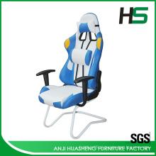 Branco e azul Cool Tone style Racing Chair com braços duráveis