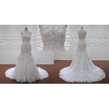 Velha moda sereia vestidos de casamento com laço de renda