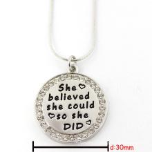 30мм Серебряный круглый выгравированный пользовательский логотип ювелирных изделий ожерелье