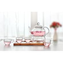 Tazón de té de vidrio de alta borosilicato con Set Tetera