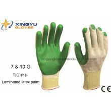 T / C Shell laminado de látex guante de trabajo de seguridad de palma (S1101)