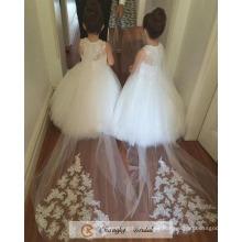La muchacha de flor hinchada de la alta calidad viste los vestidos de partido de boda 2017 Fábrica libre de Cappa