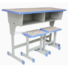 Günstige Fabrikpreis Schule Möbel Doppelsitz Student Schreibtisch und Stuhl zum Verkauf