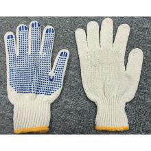 7 Gauge natürliche Baumwolle blau PVC Punkte Handschuh (SJIE1004)