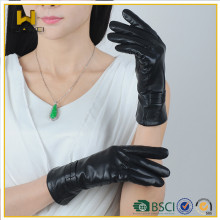 Moda Inverno Luvas de Couro Ladies Sensory Luvas de Couro com Touch Função