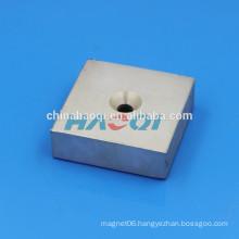 75X75X25mm NdFeB NIB Neo ndfeb countersunk square magnet with hole