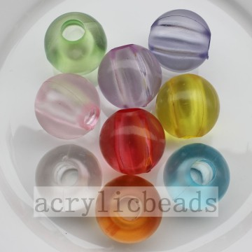 Transparent frosted round beads with big through hole