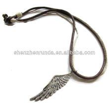 Поставщик alibaba 2014 кожаный necklae с крыльями ангела, ожерелье способа