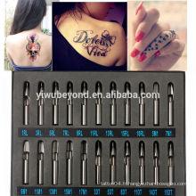 22pcs Pro Tattoo Supply Acier inoxydable Tip Kit Machine Gun Grip Set Nozzle