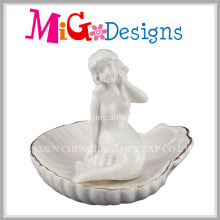Factory Price White Mermaid Ceramic Ring Holder with Gold Line