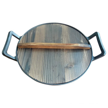 Two Handles Cast Iron Chinese Kitchen Cooking Wok with Lid