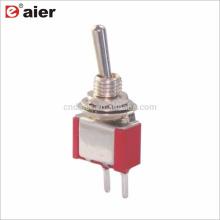 6MM Single Pole 2 Pin Terminales de PCB Interruptor de palanca de 2 vías ENCENDIDO APAGADO