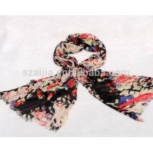 Fashion women 100 cotton black floral printed scarf