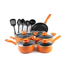 Aluminum 14-Piece Marble Orange Cookware Set- Black Non Stick Interior