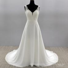 Spaghetti Strap A line Wedding Dresses Lace Applique bride Dress with Long Train