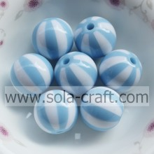 12MM 500Pcs Shop High Quality Sky Blue & White Striped Decorative Curtains Polystyrene Silicone Beads For Clothes