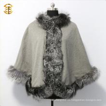 Piel de Fox de plata genuina de lujo ajustada el mantón de las mujeres
