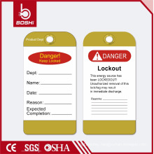 BOSHI PVC Tag Lockout Label BD-P13 for Department Identification